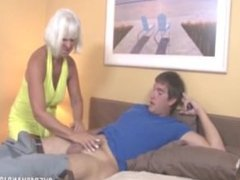 Mature Blonde Jerking On Bed