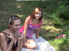 two girls fuck a guy in the woods