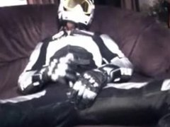 Biker Cumming on Cross Helmet in FLM leather Suite
