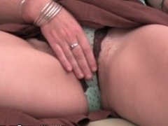 Mature housewife gets her hairy pussy fingered by the photographer