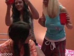 College girls trio drinking and flashing butts and tits