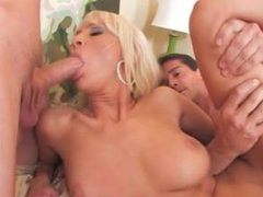 Hot blonde Amy fucked by two guys