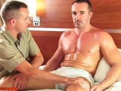 Adam a sexy sport guy get massaged and get wanked by my assistant!