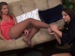 Lesbian Nylon Foot Smelling I