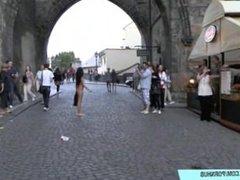 Naked teen tara has fun on public streets