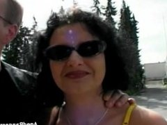 Outdoors wife handling 3 hard cocks for real