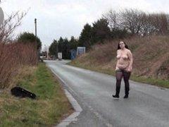 Fat amateur flasher Emmas public exhibitionism and voyeur bbw babe outdoors