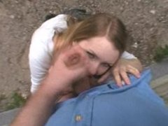 Amateur 'Schollgirl' Outdoor Blowjob, Deepthroat, Swallow