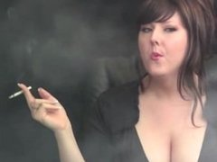 Smoking brunette big tits