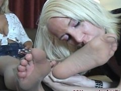 Mandy on the phone foot worship