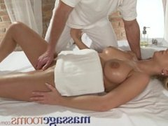 Massage Rooms Girls with big boobs are fucked hard on the massage table