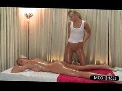 Blonde lesbian siren gets sweet ass massaged erotically