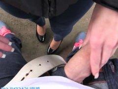 PublicAgent Young black haired girl fucks on car bonnet