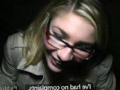 Blonde with glasses sucks huge dick in public