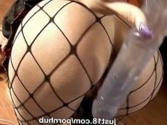Small titted Carolina masturbates with a giant dildo only at Just18