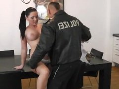 Busty German fucks fake cop