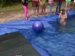 College Girls Naked In Temporary Pool For Hazing