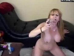 Big Tits Blonde Mature Deepthroat Dildo