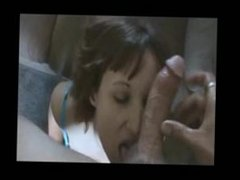 cute short haired chick, taking a nut to the face.