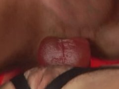 Hot chick pegs his ass and makes him her bitch!
