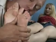 Father and Step-Daughter have fun with feet