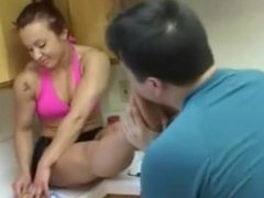 Submissive guy licks GF soles