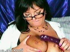 Big titty milf dildo sucking and titty fuckin