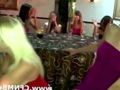Wild party babe amateurs suck CFNM strippers cock