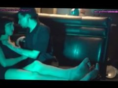 Domme Kisses Her Boyfriend While cuckold slave Cleans Her Feet
