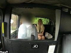 Hot blonde babe sucking on a taxi drivers hard cock