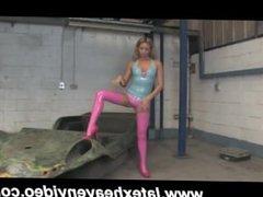 Latex Hottie Striptease in Stockings