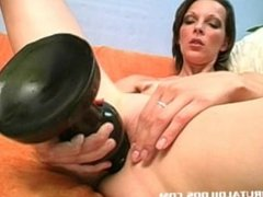 Massive dildo stretching out this russian slut