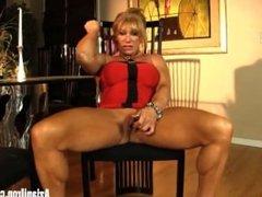 Aziani Iron Mature female bodybuilder with big clit