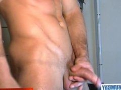 Straight guy serviced! This hunk get wanked his huge cock in spite of him !