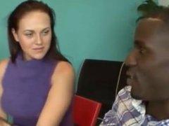 Flirty brunette whore sucking monster black cock in front of husband