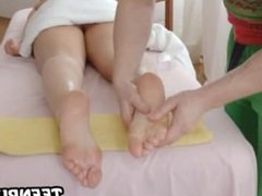Tasty amateur brunette babe getting a steamy massage
