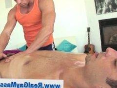 Tugged straighty sucks masseur
