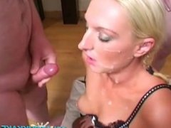 Sexy UK blonde sucks dick, gets gangbanged and jizzed on in a bukkake party
