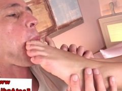 Foot fetish babe receiving foot massage