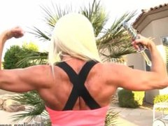 Ashlee Chambers flexing her biceps,abs and legs before she get naked