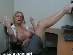 Brooke Banner – a hot secretary showing her feet and pussy