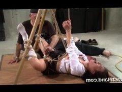 Wasteland BDSM Sex Master Ties Sex Slave Nyssa To Bamboo for BDSM Play