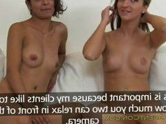 Amateur hotties sharing dick in casting