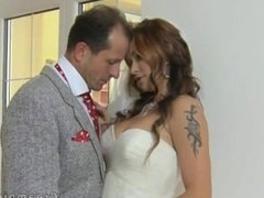 Huge tits bride fucked and creampied in bed