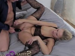 StrapOn Hot blonde women pleasured by double penetration