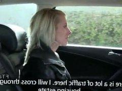 Blonde amateur fucks huge dick in cab
