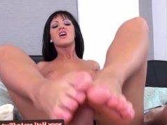 Nia Blac using feet to tug