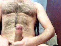 big cock, hairy body, jacking then cum with no hands