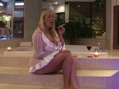 BLONDE MILF ENJOYS A CIGARETTE