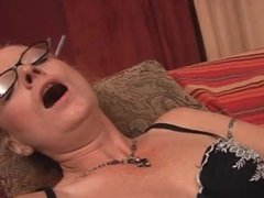 Bitch in lingerie masturbating